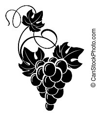 grapevine - freehand drawing decorative bunch of grapes with...