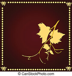 Grapevine on the claret background. Vector illustration.