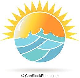 grapgic, słońce, ilustracja, wektor, projektować, morze, koło, logo.