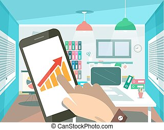 Graph and Arrow on Mobile Phone Screen with Human Hand. Flat Design Office Room on Background. Vector.