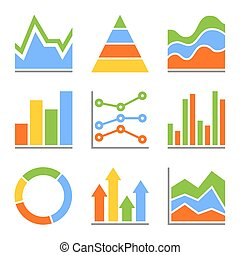 Graph and Charts, Diagrams. Infographic Set Elements. Vector