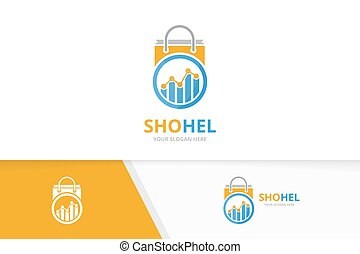 Graph and shop logo combination. Diagram and sale symbol or icon. Unique chart and bag logotype design template.