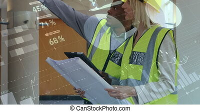 Graph and statistical data moving against male and female architect discussing over blueprints
