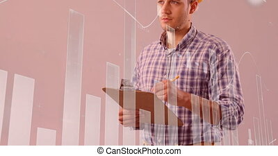 Graph and statistical data moving against male architect taking notes on clipboard