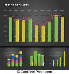 Graph bar chart - Vector graph bar chart patterns on dark