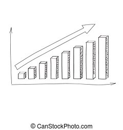 Graph Bar Hand Draw Icon Vector