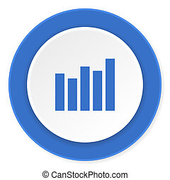 graph blue circle 3d modern design flat icon on white background