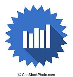 graph blue flat icon