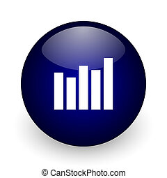 Graph blue glossy ball web icon on white background. Round 3d render button.