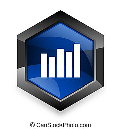 graph blue hexagon 3d modern design icon on white background
