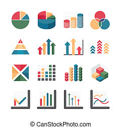 Graph chart Business and financial Icons set. Vector ...