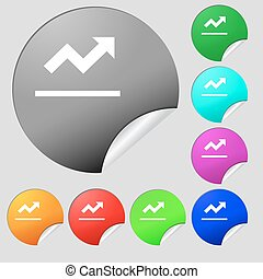 Graph chart, Diagram icon sign. Set of eight multi-colored round buttons, stickers. Vector