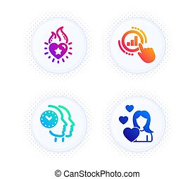 Graph chart, Heart flame and Time management icons set. Love sign. Get report, Love fire, Teamwork clock. Vector