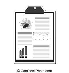 graph, clipboard, ikon