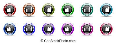 graph colorful round web icon set