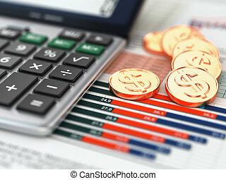 graph., concept., 은 화폐로 주조한다, 재정, 계산기