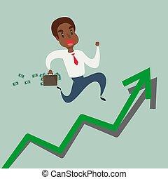 graph., courant, haut, américain, croissance, flèche noire, africaine, homme affaires