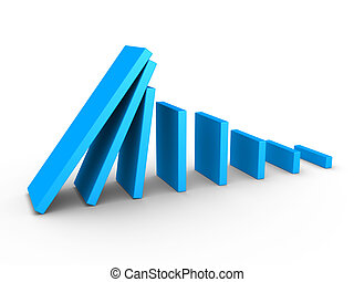 Graph descending and domino effect - 3d blue graph ...