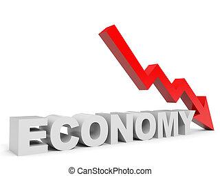 Graph down economy arrow.