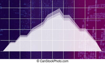 Graph evolving on grid on purple background