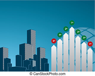 graph finance and background city