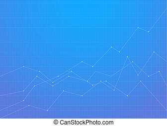 Graph financial chart background with blue gradient