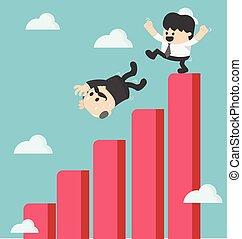 graph, forretningsmand, spark, fald