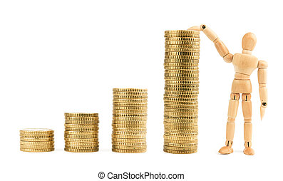 Graph from gold coins with wooden model