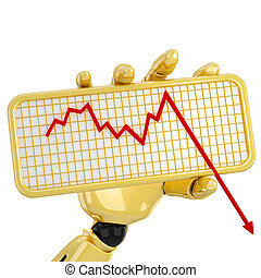 Graph going down - Gold robotic hand hold a plate with graph...