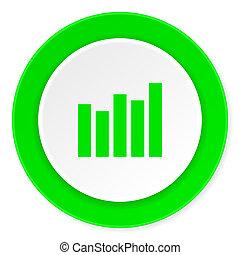 graph green fresh circle 3d modern flat design icon on white background