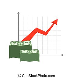 Graph growth money. Red up arrow. Increase in cash profit. Bundle of dollars. Increase amount of money savings. Element for business infographic