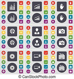 Graph, Hand, Web cursor, Avatar, Camera, Lens, Laptop, Keyboard icon symbol. A large set of flat, colored buttons for your design. Vector
