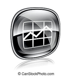 graph icon black glass, isolated on white background.