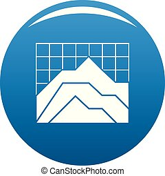 Graph icon blue vector