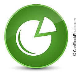 Graph icon elegant soft green round button
