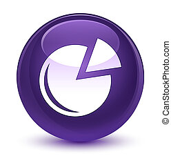 Graph icon glassy purple round button