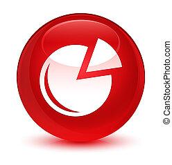 Graph icon glassy red round button