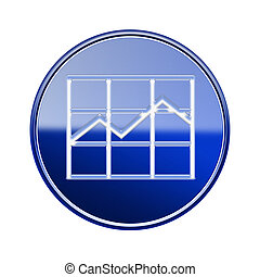 graph icon glossy blue, isolated on white background.