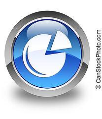 Graph icon glossy blue round button