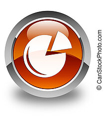 Graph icon glossy brown round button