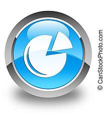 Graph icon glossy cyan blue round button