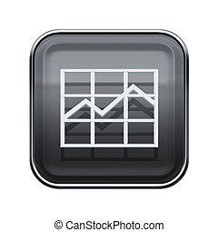graph icon glossy grey, isolated on white background.