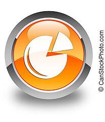 Graph icon glossy orange round button