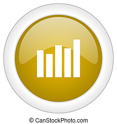 graph icon, golden round glossy button, web and mobile app design illustration