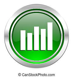 graph icon, green button, bar graph sign