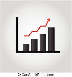 Graph Icon isolated on grey background.