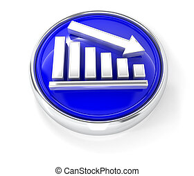 Graph icon on glossy blue round button