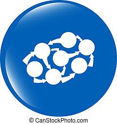 Graph Icon on Round Black Button Collection Original Illustration