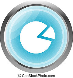 Graph Icon on Round Button isolated on white