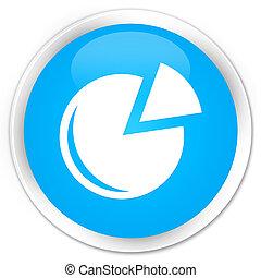 Graph icon premium cyan blue round button
